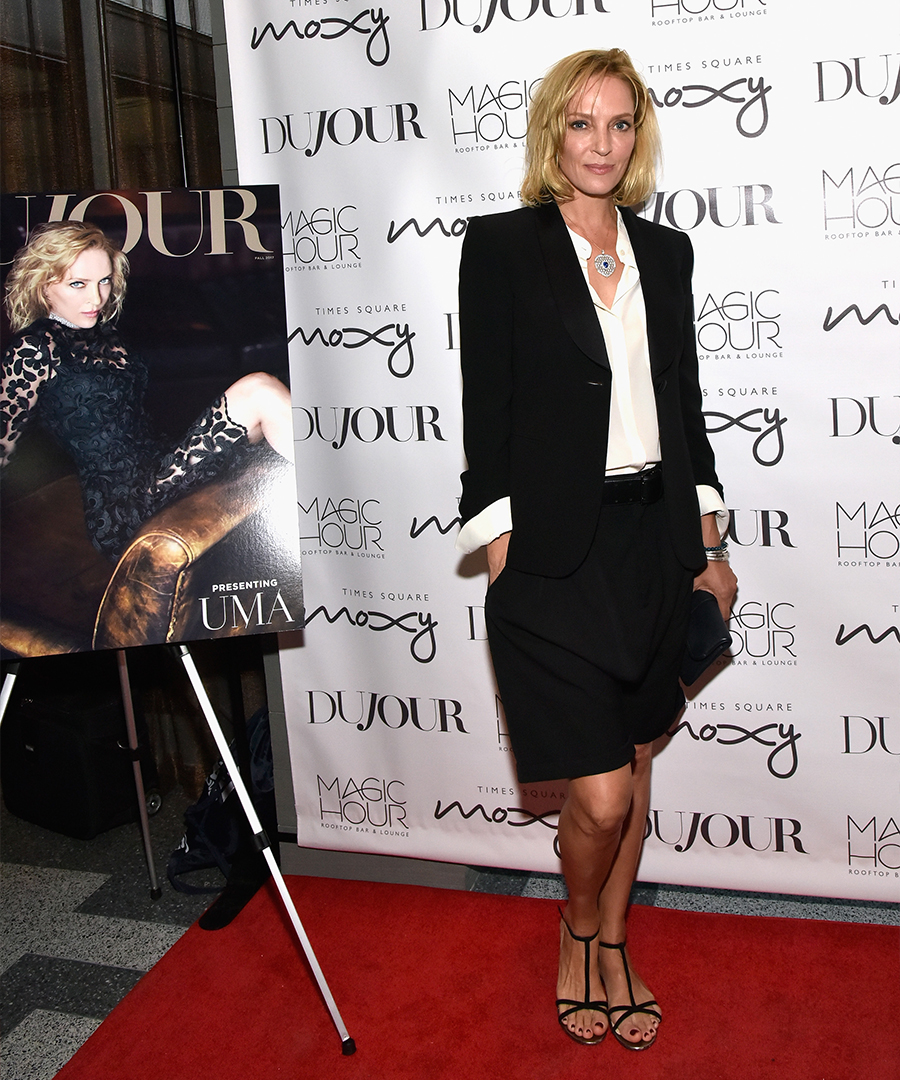 Inside DuJour's Fall Cover Party with Uma Thurman