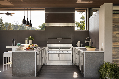 Kalamazoo Outdoor Gourmet kitchen with Hybrid Fire grill and Signature Series cabinetry and refrigeration