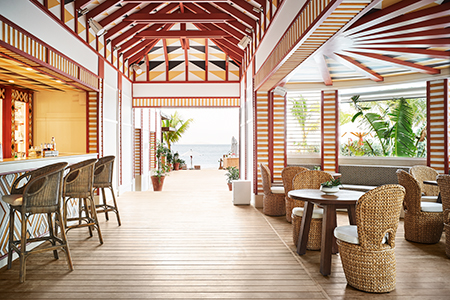 At Cheval Blanc St. Barth Isle de France: the bar and entrance to La Cabane restaurant