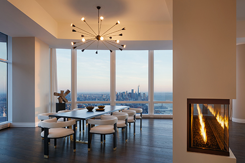 A dining room at PH90 with views as far as the eye can see