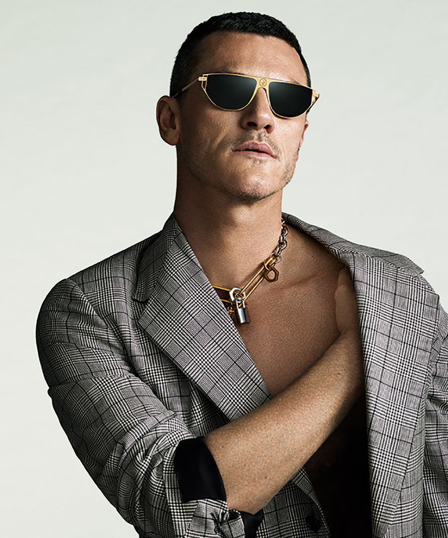 Check Out Luke Evans in Versace Men's Eyewear