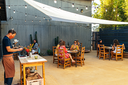 Outdoor seating at Valley