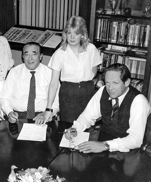 Robert Maxwell with colleagues Andrea Martin and Peter Jay