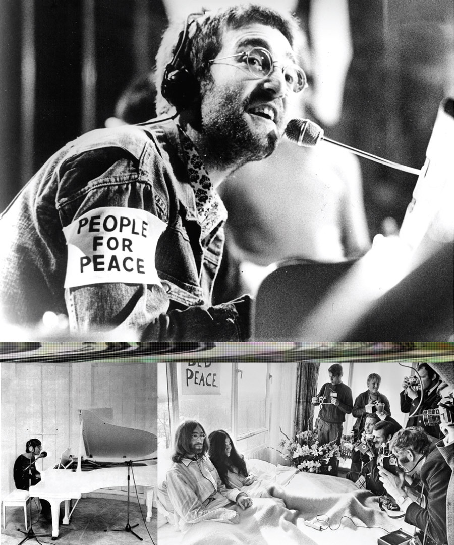 """Clockwise from top left:Lennon wearing a """"People for Peace"""" armband on the television program Top of the Pops; Lennon and Ono marry in 1969 and stage a lengthy """"Bed-In"""" Peace Protest as part of their honeymoon; Lennon at the piano where he wrote the album Imagine."""