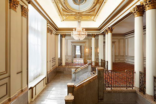 The grand staircase at the Fairmont Hotel Vancouver