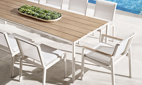 RH Marino aluminum dining table and chairs