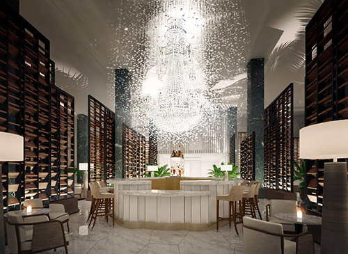 The Chandelier Bar at the Four Seasons Hotel