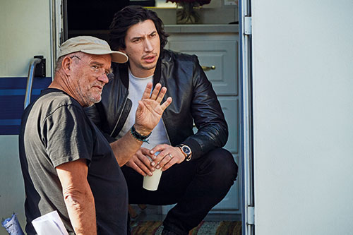 Adam Driver and photographer Peter Lindbergh behind the scenes of Breitling's Cinema Squad campaign