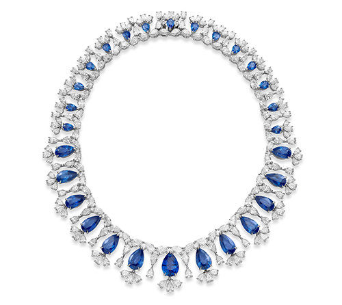 18k white gold necklace set with sapphires and diamonds