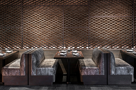 A booth at Nobu Hotel Chicago's restaurant