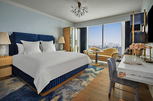 A guest room at Pendry West Hollywood