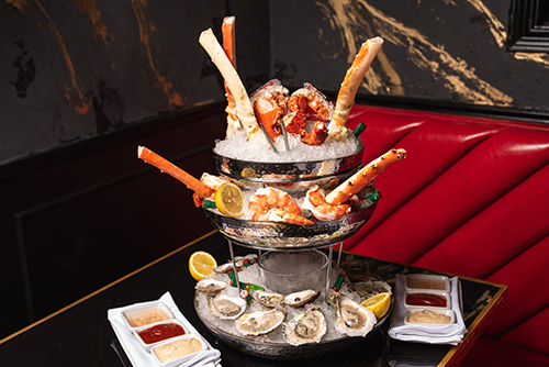 Raw bar offerings at Gatsby's Prime Steakhouse