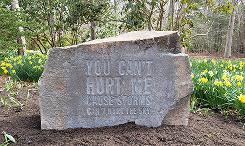"""John Giorno's """"You Can't Hurt Me Cause Storms Can't Hurt the Sky"""" (2019) at LongHouse Reserve"""