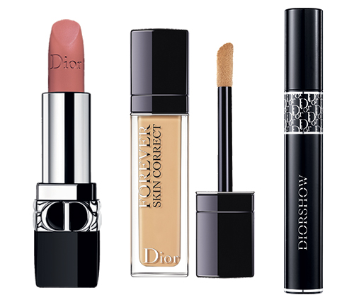 Rouge Dior #100 Nude Look, Dior Forever Skin Correct #2W, Diorshow Mascara #090 Pro Black.