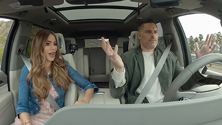Sofia Vergara and Joe Manganiello in the new 2021 Cadillac Escalade