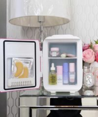 Chill your serums, hydrating mists, and face masks in a stylish refrigerator that is made for cosmetics