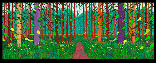 """David Hockney, """"The Arrival of Spring in Woldgate, East Yorkshire in 2011 (twenty eleven)"""" (2011) at the Museum of Fine Arts, Houston"""