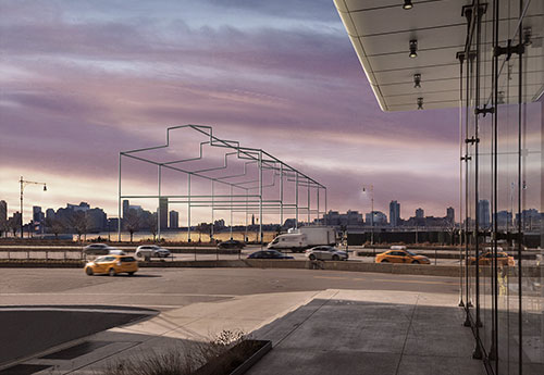 """View of Hammons' """"Day's End"""" from the Whitney"""